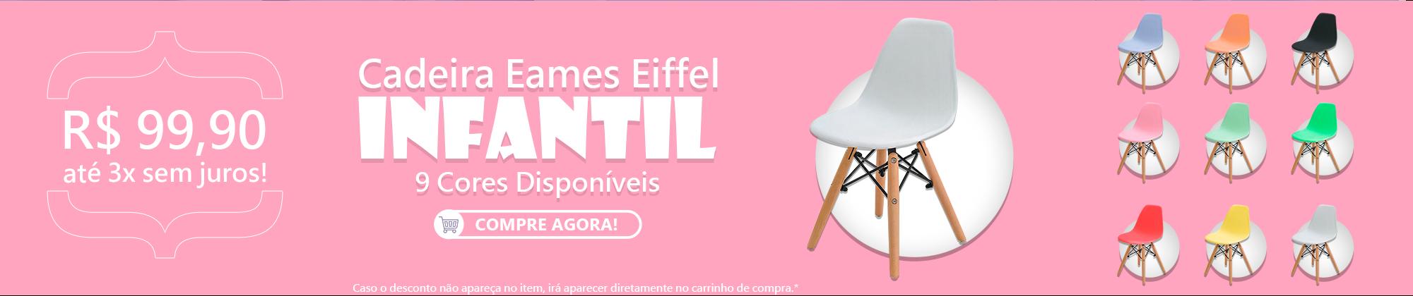 Cadeira Eames Eiffel Infantil com Base de Madeira