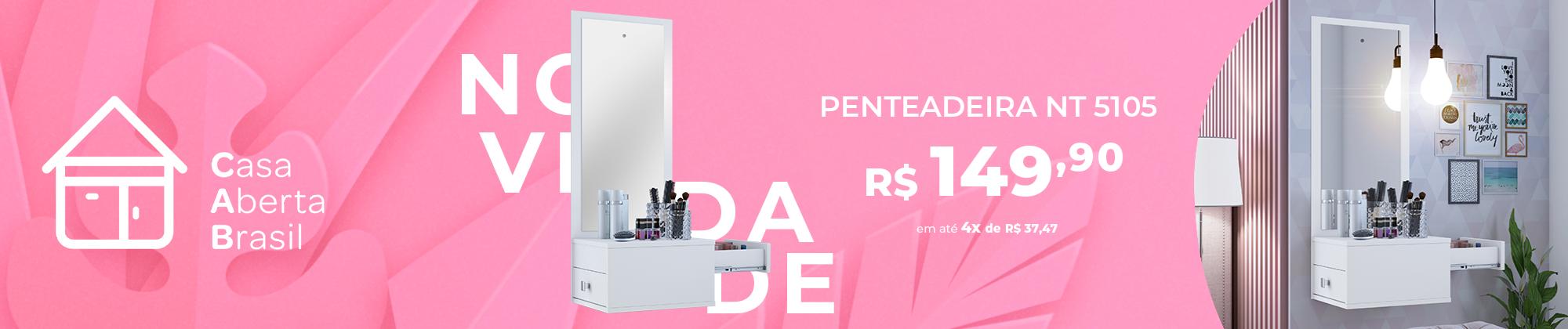 Penteadeira Suspensa 1015 com Gavetas Laterais Branca Casa Aberta Brasil