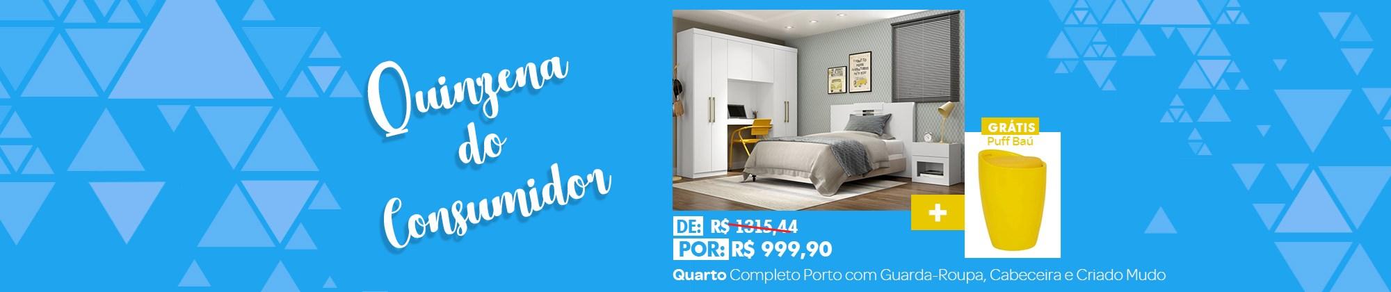 Quarto Completo Porto com Guarda-Roupa, Cabeceira e Criado Mudo Branco Móveis Carrar