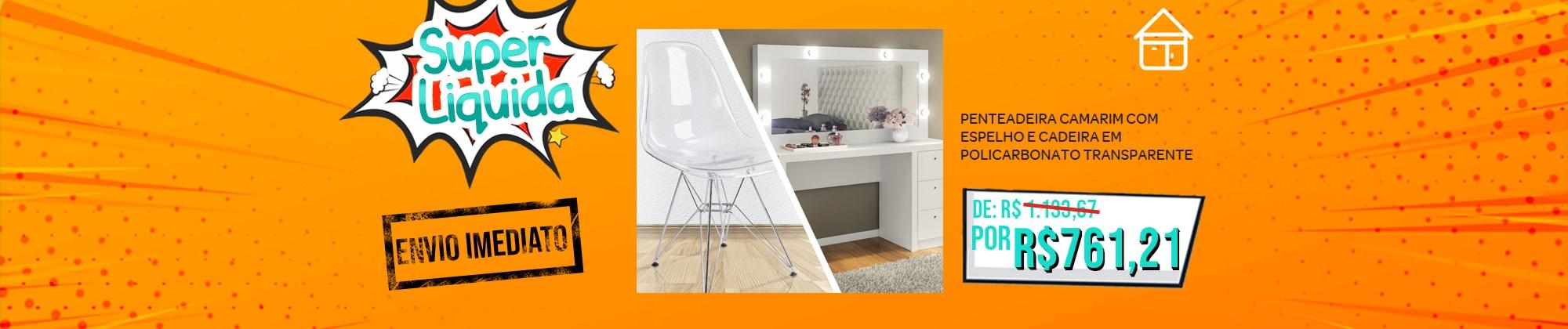 Penteadeira Camarim Branco Tecno Mobili com cadeira em policarbonato transparente Casa Aberta Brasil