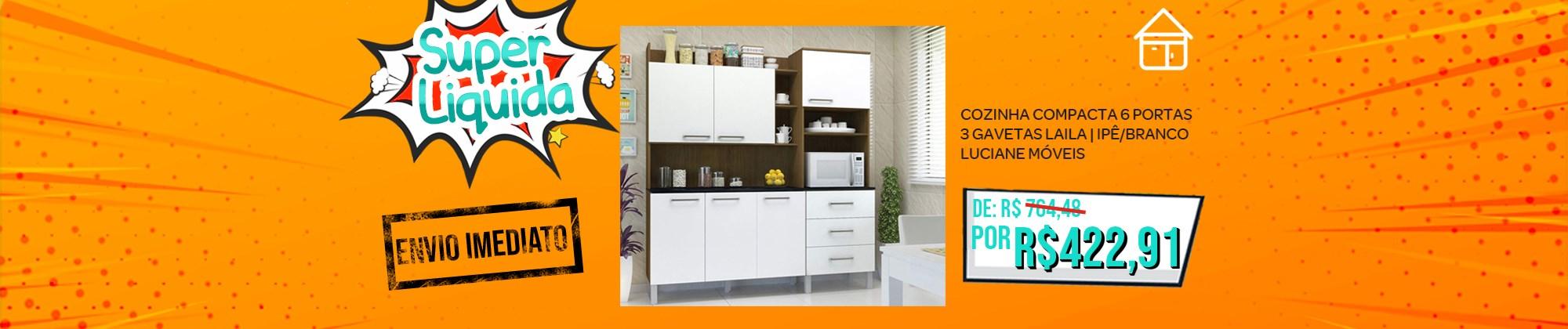 Cozinha Compacta 6 Portas e 3 Gavetas Laila Ipê / Branco Luciane