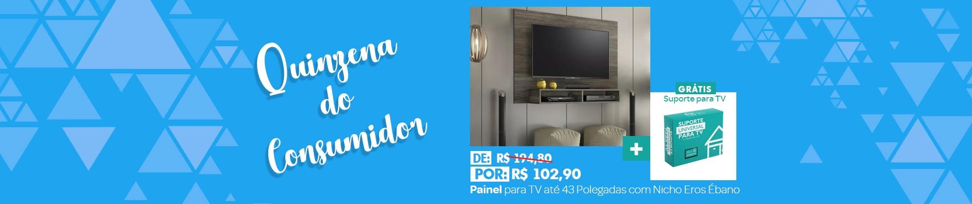 Painel para TV até 43 Polegadas com Nicho Eros Ébano e Suporte para TV Notável Móveis