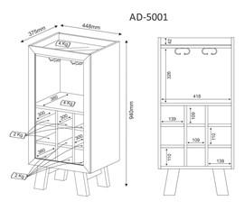 Adega com Porta de Vidro Fumê AD5001 Branco Tecno Mobili