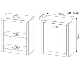 Armário Baixo 2 Portas ME4103 Branco Tecno Mobili