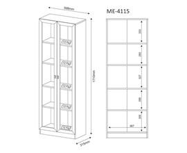 Armário Escritório 2 Portas Vidro Me4115 Nogal Tecno Mobili
