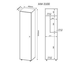 Armário Multiuso 1 Porta AM3100 Branco Tecno Mobili