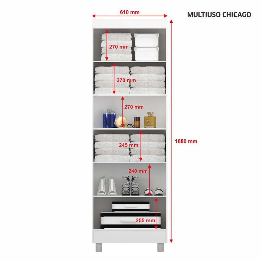 Armário Multiuso 2 Portas com Chave Chicago Branco Notável Móveis