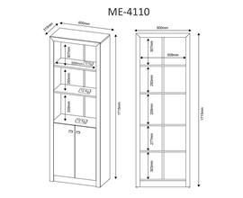 Armário Para Escritório com Prateleiras Me4110 Nogal Tecno Mobili