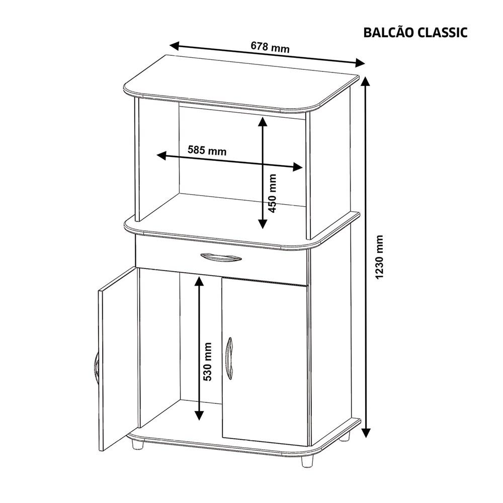 Balcão Multiuso 2 Portas e 1 Gaveta Classic Branco Notável Móveis