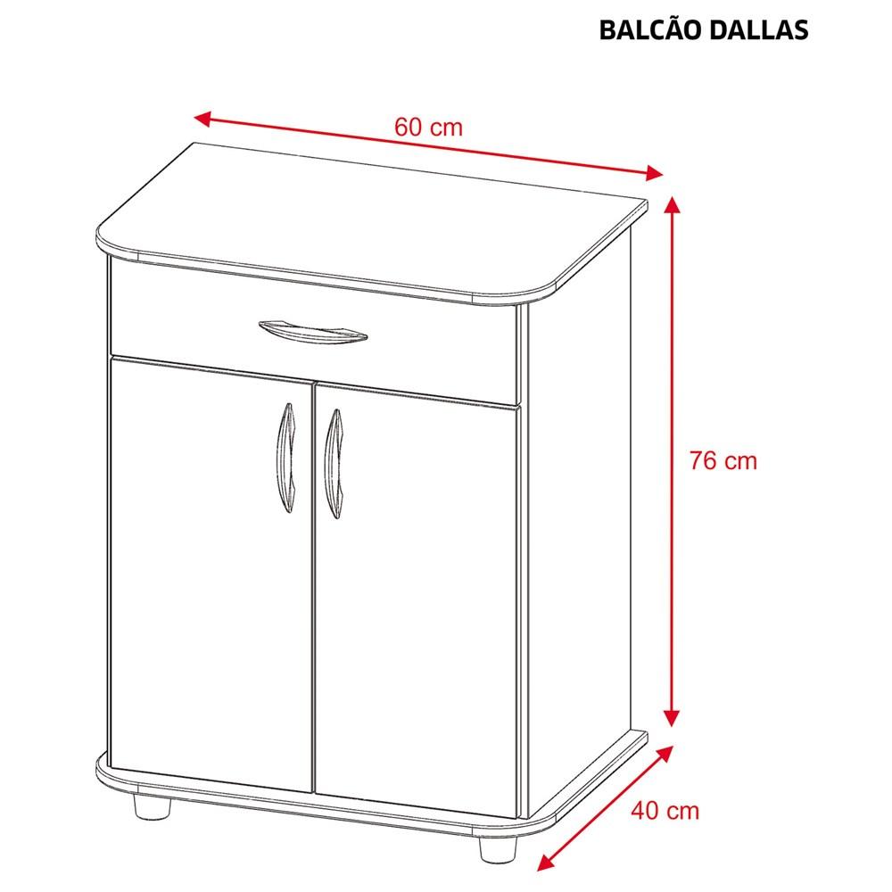 Balcão Multiuso 2 Portas e 1 Gaveta Dallas Branco Notável Móveis