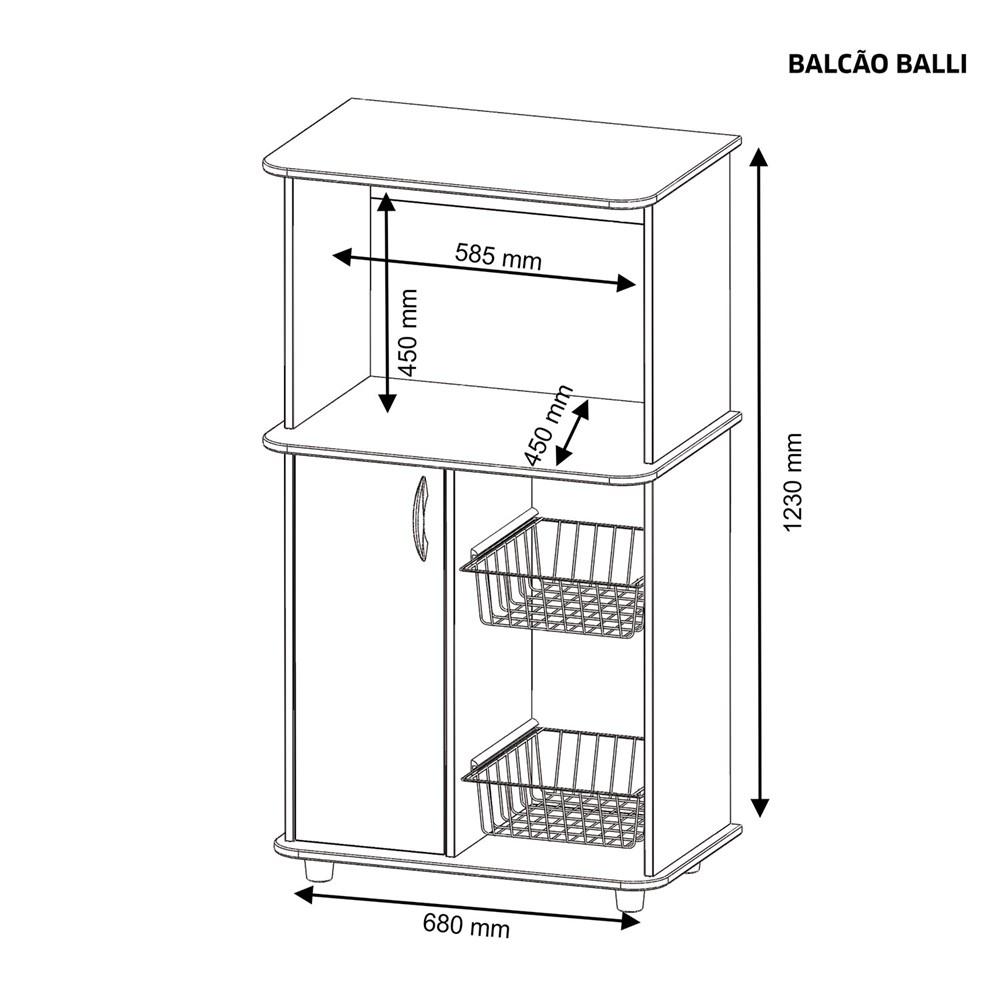 Balcão Multiuso com 1 Porta e Nicho Para Microondas Balli Branco Notável Móveis