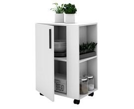 Balcão Multiuso Para Cozinha com Rodízios Bmu 130 Branco Brv Móveis