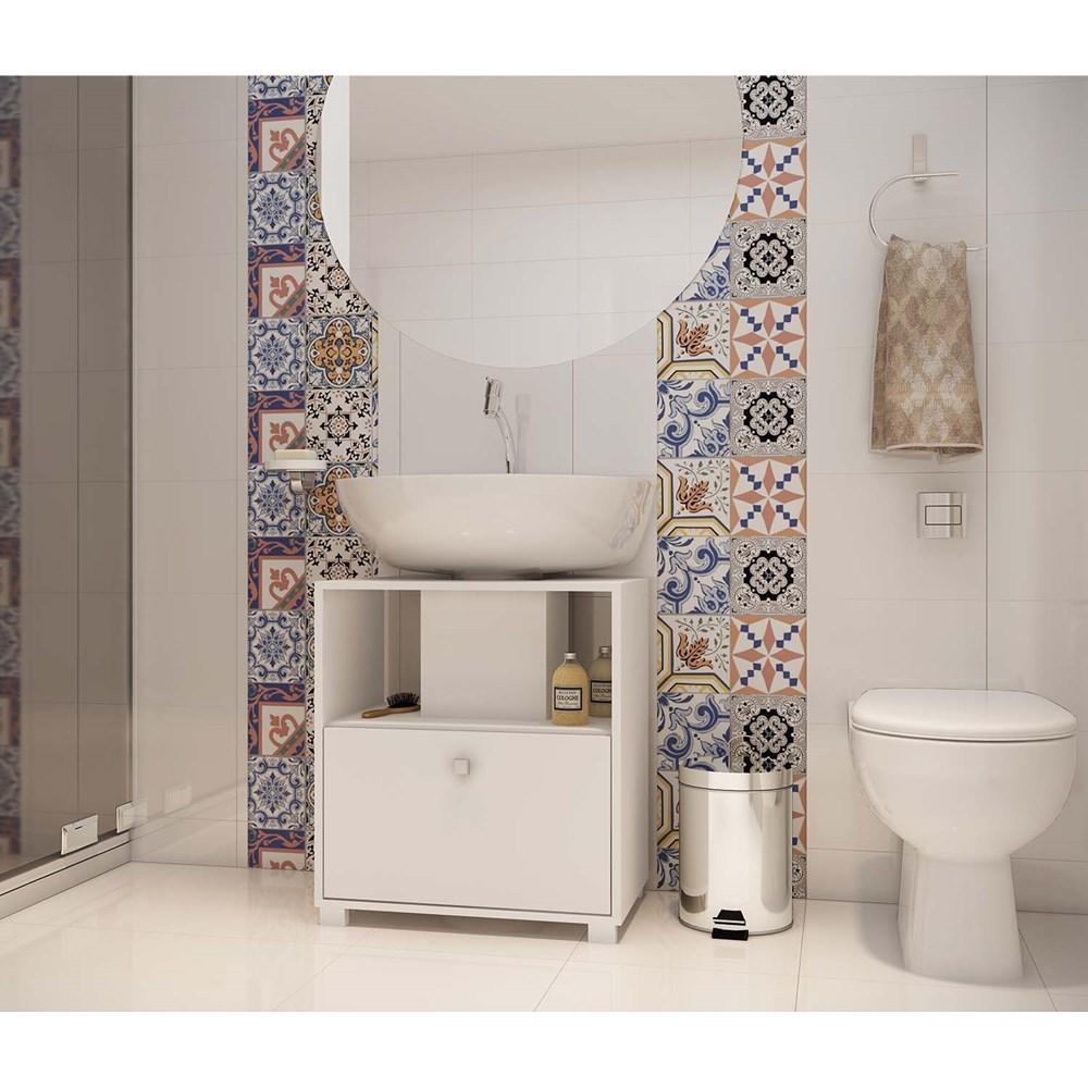 Balcão Para Banheiro 1 porta Bbn02 Versa Branco Brv Móveis