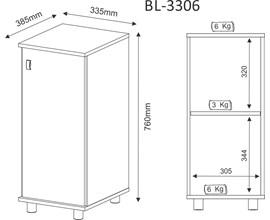 Balcão Para Bebedouro com Porta Bl3306 Branco Tecno Mobili