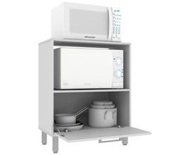 Balcão Para Cozinha com 1 Porta e 1 Nicho Bmu 29 Branco Brv Móveis