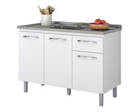 Balcão Para Cozinha com 3 Portas 1 Gaveta Branco Nt 3035 Notável Móveis