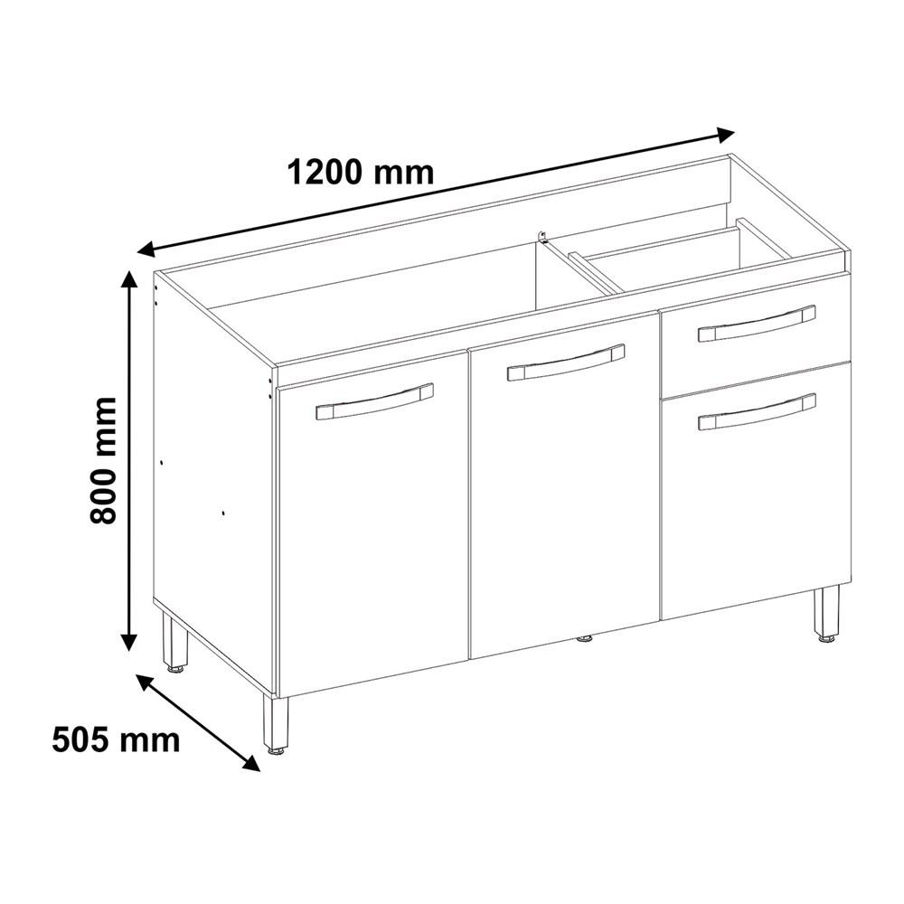 Balcão para Cozinha com 3 Portas 1 Gaveta Branco NT3035 Notável Móveis