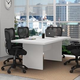 Balcão para Escritório 3 Portas Branco Tecno Mobili e Mesa de Escritório para Reunião
