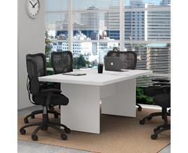 Balcão Para Escritório 3 Portas Branco Tecno Mobili e Mesa de Escritório Para Reunião Cab