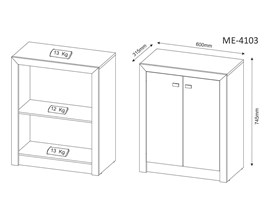 Balcão Para Escritório com 2 Portas Me4103 Branco Tecno Mobili