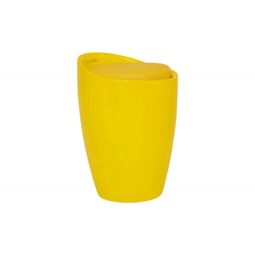 Banqueta Puff Baú com Estofado Removível Amarelo