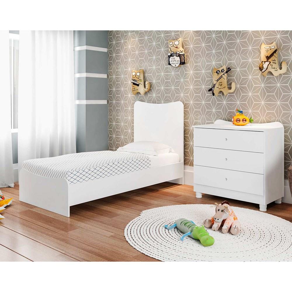 Berço Cama com Comoda Americano Fofura Branco Be8085 Art In Móveis