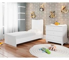 Berço Cama Com Comoda Americano Fofura Branco BE8085 BO Art in Móveis