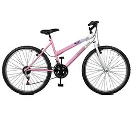 Bicicleta 26 Emotion 18 Marchas Aro 26 Rosa/Branco Master Bike
