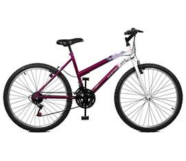 Bicicleta 26 Emotion 18 Marchas Aro 26 Violeta/Branco Master Bike