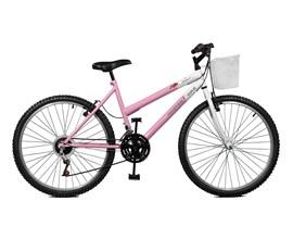 Bicicleta 26 Serena Plus 21 Marchas Aro 26 Rosa/branco Master Bike