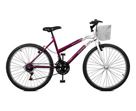 Bicicleta 26 Serena Plus 21 Marchas Aro 26 Violeta/Branco Master Bike