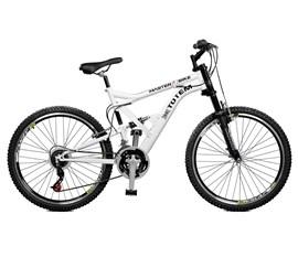 Bicicleta 26 Totem Suspensão Full Alta     A-36 Aro 26 Branco Master Bike