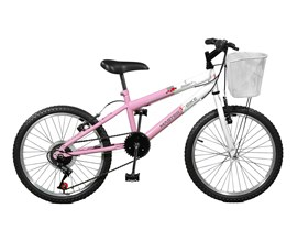 Bicicleta Aro 20 Serena Plus 7 Marchas Aro 20 Rosa/branco Master Bike
