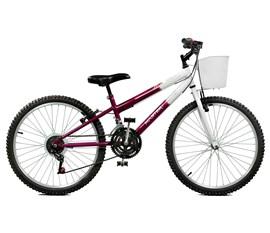 Bicicleta aro 24 Serena Plus 21 Marchas Aro 24 Violeta/Branco Master Bike