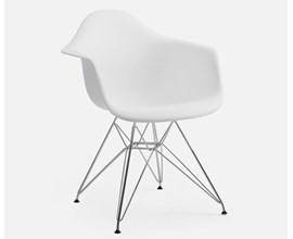 Cadeira Charles Eames com Braço e Pés Metálicos Branca Casa Aberta Brasil