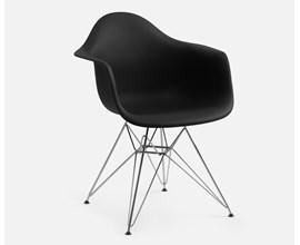 Cadeira Charles Eames com Braço e Pés Metálicos Preta Casa Aberta Brasil
