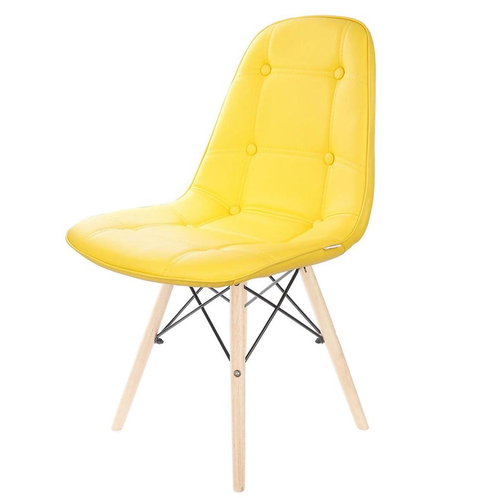 Cadeira Eames Botonê Base Eiffel de Madeira Amarela
