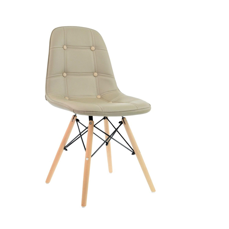 Cadeira Eames Botonê Base Eiffel de Madeira Bege