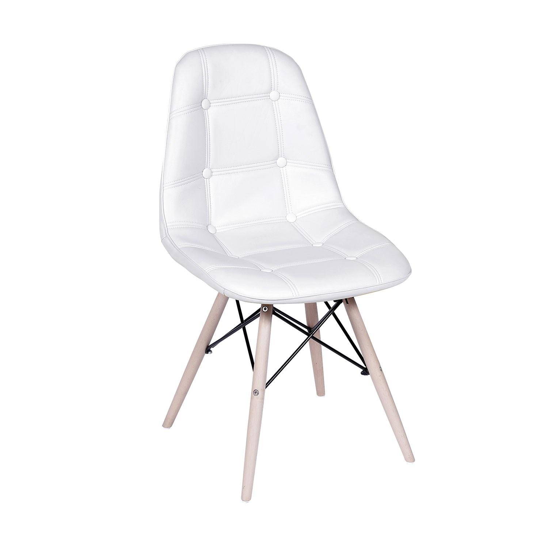 Cadeira Eames Botonê Base Eiffel de Madeira Branca