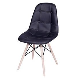 Cadeira Eames Botonê Base Eiffel de Madeira Preta