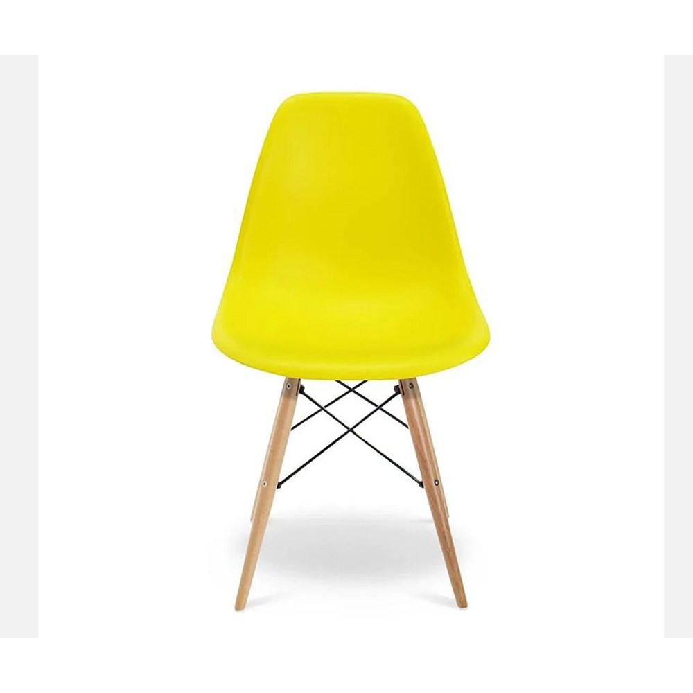 Cadeira Eames Eiffel Com Base De Madeira Amarela Casa Aberta Brasil