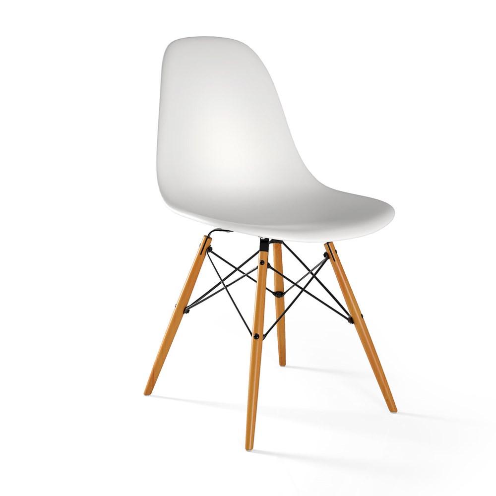 Cadeira Eames Eiffel com Base de Madeira Branca Casa Aberta Brasil