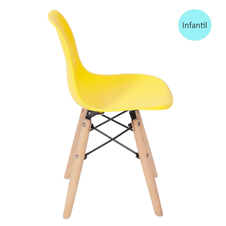 Cadeira Eames Eiffel Infantil Amarela com Base de Madeira