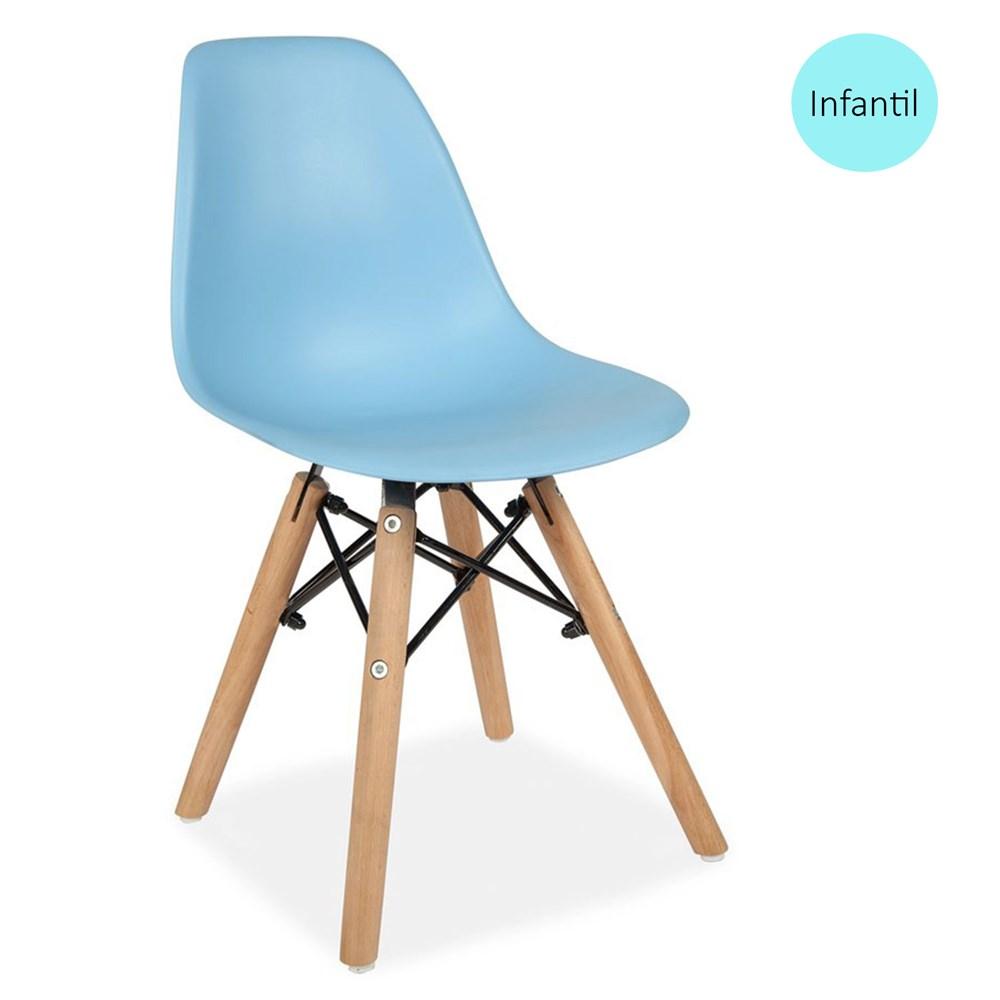 Cadeira Eames Eiffel Infantil Azul com Base de Madeira