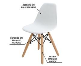 Cadeira Eames Eiffel Infantil Branca com Base de Madeira