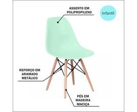 Cadeira Eames Eiffel Infantil Verde Água com Base de Madeira