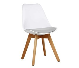 Cadeira Eames Leda Branca com Assento Cinza Base Madeira