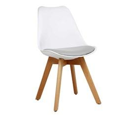 Cadeira Eames Leda Branca com Assento Cinza Base Madeira Casa Aberta Brasil