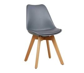 Cadeira Eames Leda Cinza Base Madeira