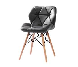 Cadeira Eiffel para Penteadeira Estofada Cinza Base Madeira